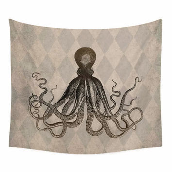 Nautical Wall Tapestry with Vintage Style Octopus on harlequin background
