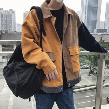 Trendy 2018 Autumn Yellow Jacket Men Creative Corduroy Japanese Style Loose Uniform Patchwork Color Big Pocket Men's Casual Jacket AT_94_13