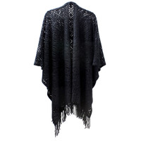 Womens Diamond Knit Chenille Poncho with Fringe