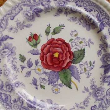 Vintage Spode Mayflower Butter Plate - Copeland - England - Lavender Flowers - Cottage Decor