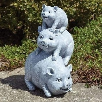 """10.5"""" 3 Pigs Stacked Resin Stone Outdoor Garden Statue"""
