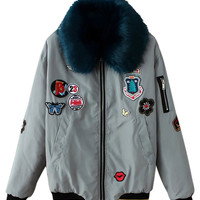 Grey Faux Collar Patches Detail Padded Bomber Jacket