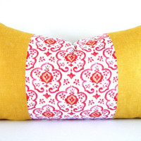 Mustard Yellow Long Bolster Pillow, Bohemian Decorative Pillows, Yellow and Red Sofa Cushions 12x22 Inch