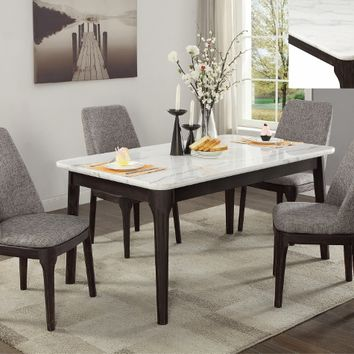 5 pc Janel mid century modern style brown wood finish marble top dining table set
