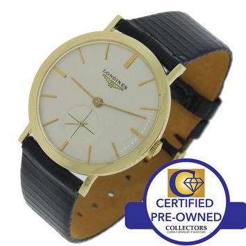 Vintage 1950's Longines Solid 14k Yellow Gold Manual Wind Sub Second 34mm Watch