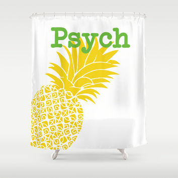 "Psych Shower Curtain 71"" x 74"" Decorative TV Pop Culture Humor Lime Minimalist Funny Burton Guster Sean Spencer Decor Home Yellow Green"