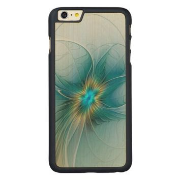 The little Beauty, Abstract Fractal Art with blue Carved® Maple iPhone 6 Plus Case