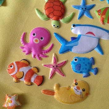 Glitter marine animal puffy sticker puffer fish sea lions seals sticker starfish turtles Aquarium Tropical fish octopus devil rays