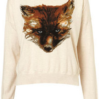 Knitted Painted Fox Jumper - Topshop USA