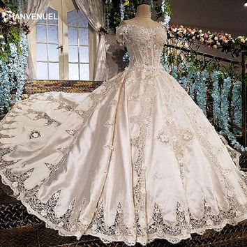 LS01599 wedding dress 2018 satin sweetheart ball gown beading short sleeves appliques court train lace up vestido de casamento