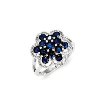 Sterling Silver Sapphire Flower Ring