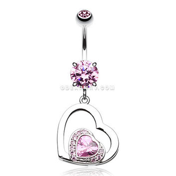 Sweet and Sparkly Heart Belly Button Ring (Pink)