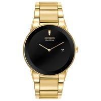Men's Citizen Eco-Drive Axiom Gold Tone Black Dial Watch