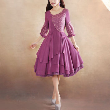 Purple lace dress Cotton dress women dress fashion dress Long sleeve dress---WD045