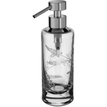 Barocco Hand Carved Glass Table Countertop Pump Liquid Soap Lotion Dispenser
