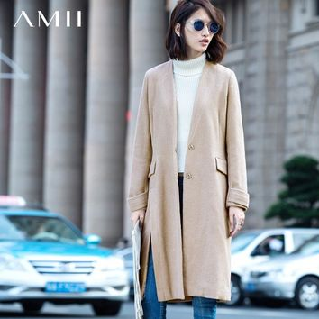 Amii Casual Women Woolen Coat 2018 Winter Solid Covered Button V Neck  Slits Female Wool Blends