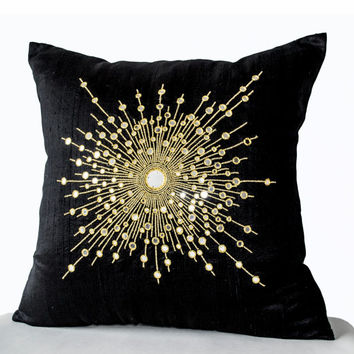 Decorative Throw Pillows -Premium Beaded Pillow -Pure Silk Gold Starburst Pillows -Sheesha Pillows -Gift -Mirror pillow -20x20-Black pillows