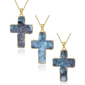 Aquamarine Cross Natural Crystal Necklace
