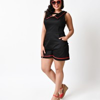 Plus Size 1950s Style Black Nautical Sailor Sleeveless Retro Stretch Romper