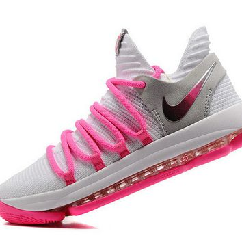 Spring Summer 2018 Cheap Priced Advanced Design Nike Zoom KD 10 EP White Baby Pink 897816 200 Kevin Durant Mens Basketball Shoes Brand sneaker