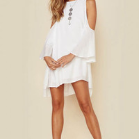 INDAH Marcella Solid High Neck Mini Dress | White