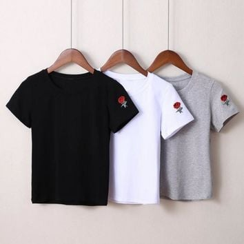 Summer Fashion Embroider Roes Short Sleeve Tops