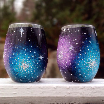 Hand painted galaxy stemless wine glasses (set of 2)