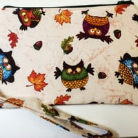 Owl Wristlet with Removable Wrist Strap, Large Wristlet Wallet, Phone Wristlet, Clutch Wallet with Strap, Cell Phone Wallet, Wrist Wallet