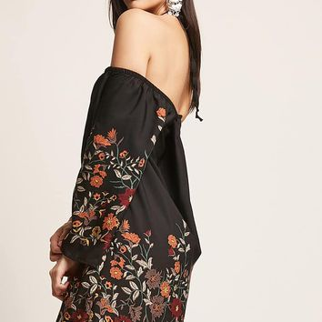 Floral Off-the-Shoulder Peasant Dress
