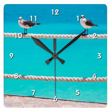 White seagull birds & blue ocean photo wall clock