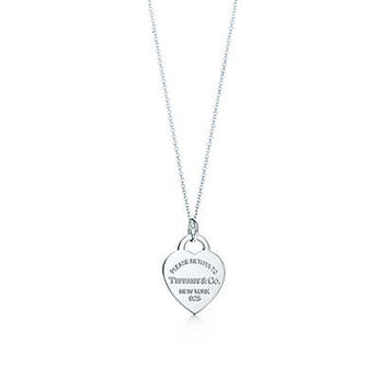 Tiffany & Co. - Return to Tiffany™ heart tag charm in sterling silver on a chain.