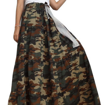 Women Casual Gypsy Ruffle Long Skirt, Bohemian ,Green CAMO Cotton Blend (Skirt *B9).
