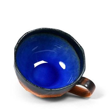 Wide stoneware cup with cobalt blue Interior