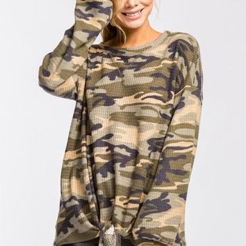 Camo Print Round Neck Long Sleeve High-Low Top