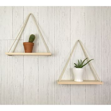 Solid Maple Hanging Planter (set of 2)