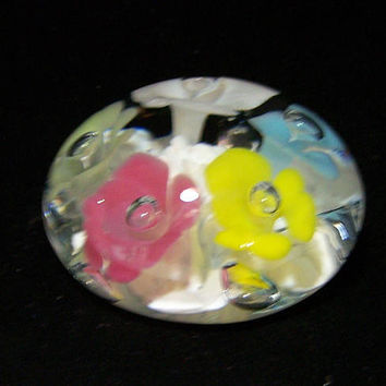 St Clair Blown Art Glass Flower Paperweight, Clear Cased Pastel Floral Paperweight 1017