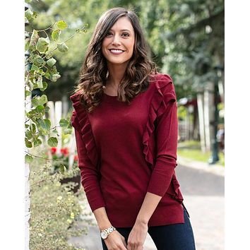 Grace & Lace Ruffle Sweater (Cabernet)