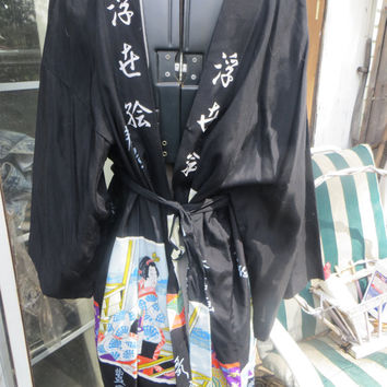 Vintage mid century  rayon Japanese Kimono Robe w geisha women  with belt new condition
