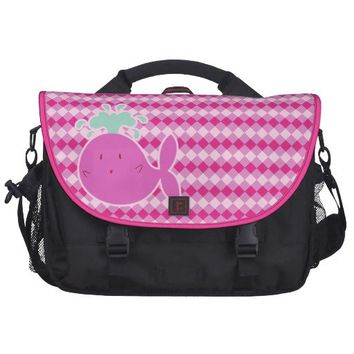Cute Pink Cartoon Whale Laptop Computer Bag from Zazzle.com