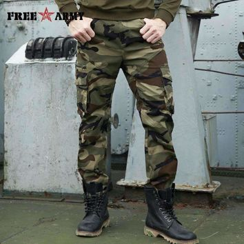 2017 Autumn Brand Mens Fashion Military Cargo Pants Multi-pockets Baggy Men Pants Casual Trousers Overalls Army Camouflage Pants