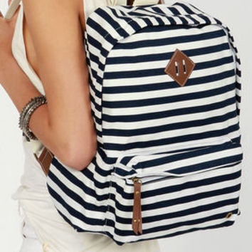 Madden Girl Bskool Navy Blue Striped Backpack