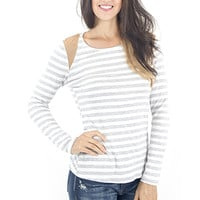 Women's Top-Long Sleeve Striped Faux Suede Shoulder Top Grey