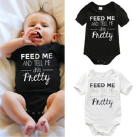 Newborn Kids Baby Boy Girl Rompers White Cotton Infant Romper Jumpsuit Short Sleeve Letter Clothes Outfit Summer 3 6 9 12 Month