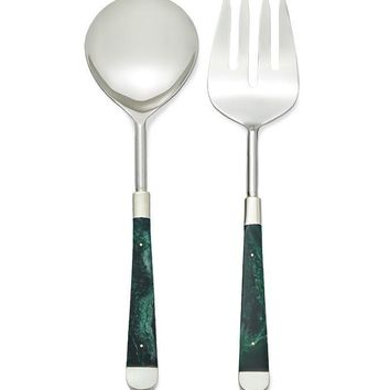 MALACHITE SALAD SERVER SET FLATWARE