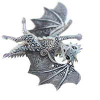 Little dragon cute figurine spotted gray, silver dragon, fantasy art sculpture handmade - magic gift