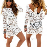 New Women Fashion Sexy Hollow Out Lace Crochet Swimwear Bikini Cover Up Beach Dress = 1838540164