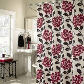 M. Style Flora Shower Curtain in Lipstick - MS8091-LIP - Shower Curtains - Shower Curtains & Accessories - Bed & Bath