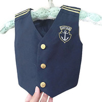 Vintage Baby Sailor Vest, Nautical Baby Vest, Navy Blue Gold Nautical Stripe Captain Anchor Nautical Vest, Baby Vintage Halloween Costume S
