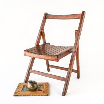 Vintage Oak Childs Folding Chair / Small Wood Chair / Playroom D