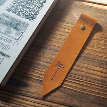Handmade Leather Bookmark - Bookmarks Hand stitched Book Mark Personalized#Brown